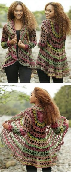 Crochet Diy DIY Crochet Lace Jacket Free Pattern Ideas - If you are on the hunt for a Crochet Lace Jacket Free Pattern, we have the best collection for you to select from. Check out all the versions now. Crochet Shawl, Diy Crochet, Crochet Ideas, Crochet Stitches, Crochet Circle Vest, Crochet Projects, Bohemian Crochet Patterns, Crochet Cape, Crochet Edgings
