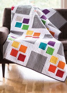 Gray Square Scramble - twin size quilt. Colours can be swapped out to fit your decor and style.
