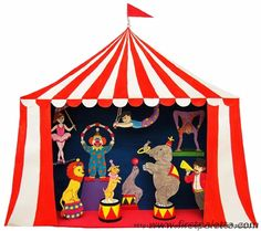 Make an exciting circus shoebox diorama featuring your favorite circus animals and circus performers. With a few added steps, you can also turn your diorama into a fun circus puppet theater. Circus Activities, Circus Crafts, Circus Art, Circus Theme, Circus Train, Fun Crafts For Kids, Diy For Kids, Arts And Crafts, Paper Crafts
