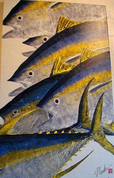 A wonderful way to paint using fish rubbing