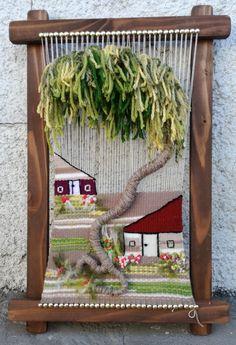 Paper Weaving, Tapestry Weaving, Loom Weaving, Embroidery Flowers Pattern, Flower Patterns, Weaving Wall Hanging, Fabric Art, Fiber Art, Macrame