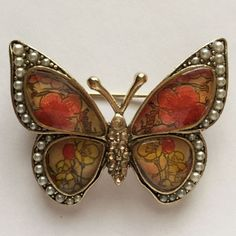 53A. Pin brooch in shape of BUTTERFLY with small faux pearls, rhinestones ... Lot 53A