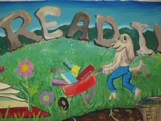 """Dig into Reading"" themed Summer Reading Club Mural painted by the Abington Senior High School for the Children's Department at Abington Free Library. abingtonfreelibrary.org"