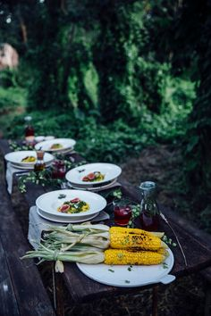 a gathering for villeroy&boch: gluten free pasta with curry peas, roasted figs and grilled corn