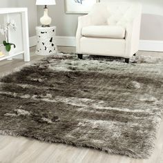 Safavieh Paris Silken Shag Collection SG511-7575 Silver Shag Area Rug, 8 feet...