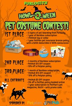 Enter the @Furlocity Howl-O-Ween Pet Costume Contest for the chance to win spooktacular prizes from @pethub @barkbox and even a free year of Petplan pet insurance!