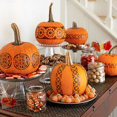 Skip the carving! Decorate your pumpkins with stamps this year for a long-lasting display. #Halloween #pumpkins