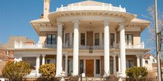 Take a tour of this neoclassical Montana mansion that is more affordable than you think. Huge Mansions, Mansions Homes, Villa Design, House Design, Villas, Old Houses For Sale, Grand Staircase, Wood Trim, Old House Dreams