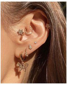 Bijoux Piercing Septum, Piercing Chart, Triple Lobe Piercing, Double Cartilage, Facial Piercings, Tongue Piercings, Cartilage Piercings, Ear Jewelry, Ear Piercings