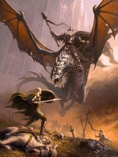 Jesper Ejsing - J. Tolkien - The Return of the King - Eowyn and the Nazgul Gandalf, Legolas, Thranduil, Tauriel, Jrr Tolkien, Fantasy World, Fantasy Art, Medieval Combat, Middle Earth