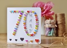 70th Birthday Card with Heart Design Personalised Age 70  anche x 40 ANNI!