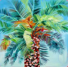 Original medium sized oil painting from London based artist Alanna Eakin tropical colourful thick paint Canvas Signs, Artist Profile, Monte Carlo, Oil On Canvas, Original Artwork, Plant Leaves, Art Gallery, Tropical, Paintings