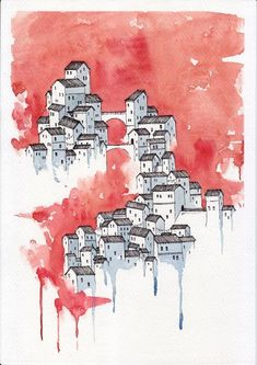 Watercolor Drawing, Watercolor Illustration, Watercolor Paintings, Artwork Paintings, Watercolor Artists, Indian Paintings, Architecture Drawing Art, Watercolor Architecture, Painting Inspiration