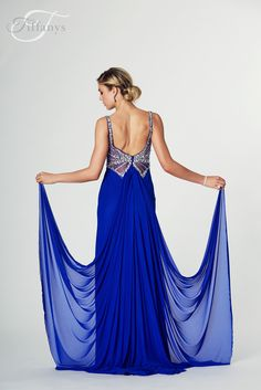 #TIFFANYSPROM #PROM #HARRIET Tiffanys - Harriet. Available in Light Blue, Mint, Royal & Red. Net jersey with jewelled detail to the middle, open back,zip back.