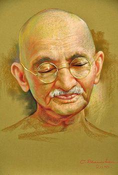 Mahatma Gandhi Indian Artwork, Indian Art Paintings, Indian Women Painting, Ancient Indian Art, Pastel Portraits, Krishna Art, Krishna Painting, Woman Painting, Portrait Art