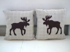 Cottage / cabin decor mini moose appliqued by stitchandspoke