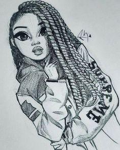 black and white drawing of a girl, face drawing, long braids, supreme jacket - Art Drawings Art Drawings Sketches, Realistic Drawings, Sketch Art, Anime Sketch, Black Girl Art, Black Art, Art Girl, Christina Lorre Drawings, Art Du Croquis