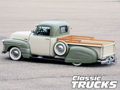 Check out Fred Perez's 1954 Chevy 3100 pickup truck. This former farm truck is powered by a Thriftmaster 235 engine and has a two tone paint job consisting of PPG Adole Beige and Moss Green. Only at www.classictrucks.com, the official site for Classic Trucks Magazine.