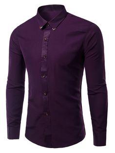 Long Sleeves Shirts Solid Color Metallic Turn-Down Collar For Men Purple Dress Shirt, Mens Kurta Designs, Formal Shirts For Men, Mens Designer Shirts, Mens Fashion Wear, Wedding Shirts, Slim Fit Dress Shirts, Cut Shirts, Mens Clothing Styles