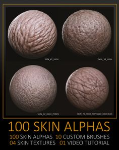 Hello guys. First of all, thank you so much to getting here. And thanks for download or interest. Instagram : @kkxi. Artstation.com/artist/cmoura. Working in Zbrush, these high quality alphas will be a great tool to help bring your creatures and skin things/body. This pack can speed up your concept or work. 100 Skin High alphas, 10 Custom Brushes, 04 Textures and Video Tutorial. The alphas are black and white .psd files, specifically created and collected with creating realisti...