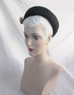 1940's Vintage Open Crown Black Hat with Bow by MyVintageHatShop