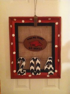 Door hanger made from old picture frame!
