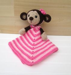 Crochet Brown and Pink Monkey Lovey Security by SugarandSpiceKate