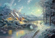 Christmas Moonlight Painting by Thomas Kinkade