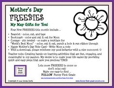 Mother's Day - FREEBIES - My May Gifts for You! Four New FREEBIES include Printables: - Bracelet - Bookmark - Corsage - Happy Mother's Day Note Card. Write Mom a note!