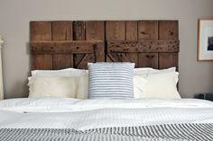 DIY barn door headboard DIY home furniture Headboard From Old Door, Door Headboards, King Headboard, Pallet Headboards, Reclaimed Headboard, Old Barn Doors, Diy Barn Door, Diy Door, Rustic Bedroom Design