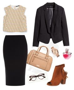 """""""Outfit day."""" by pascaline-az on Polyvore featuring Zara, MANGO, Roland Mouret, H&M, FOSSIL and Nina Ricci"""