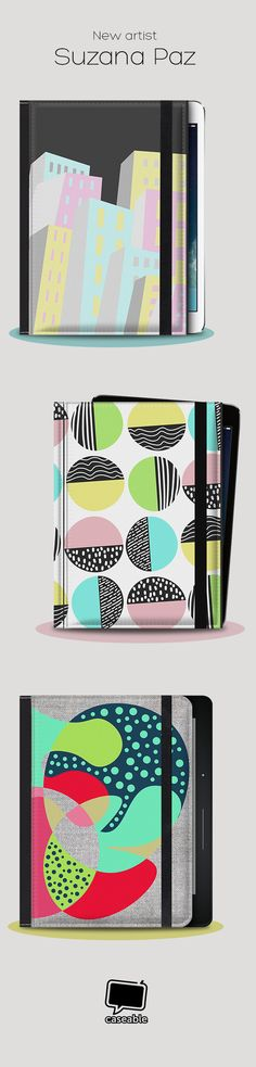 Artist Suzana Paz designs geometric patterns that fit perfectly on your tablet case or ereader case!