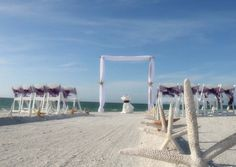 Plum sashes and our signature Suncoast Package arch for a stylish Florida beach wedding
