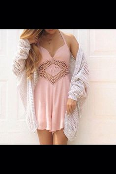 Pink dress with a white sweater