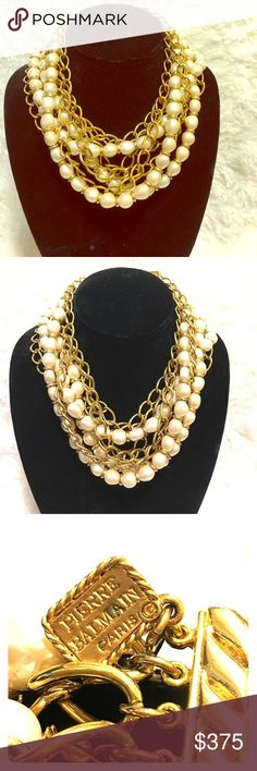 Vintage PIERRE BALMAIN PARIS Authentic PIERRE BALMAIN PARIS heavy Pearl and gold plated chain necklace. Elegant, glamorous piece of treasure. A must own! Circa 1960's-70's. Pierre Balmain Paris Jewelry Necklaces