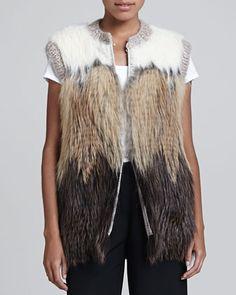 Fur & Knit Vest, Multi by Fendi at Neiman Marcus.