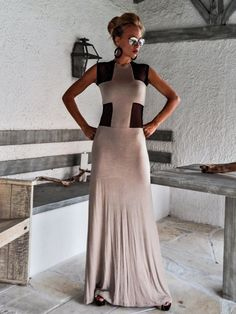 Beige Maxi Dress with Black See-Through Detail / Maxi Dress / Beige Maxi Dresses, Backless Maxi Dresses, Summer Dresses, Jersey Outfit, Couture, Kaftan, See Through, European Fashion, Dress Codes