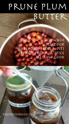 Prune Plum Butter: Using Extra-Small Pit Fruit Plum Butter, Plum Preserves, Prune Recipes, Prune Plum, Sour Fruit, Canned Food Storage, Plum Jam, Food Mills, Dips