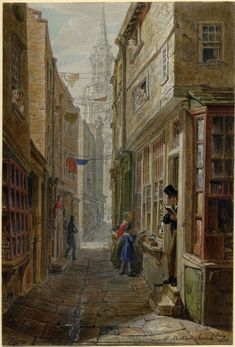 George Scharf: From Regency Street to the Modern Metropolis, London - A lane near St Martin's Church c1828