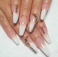 Ombré Set ✨✨ With Golden Diamonds ! Pinterest: Hair,Nails,Style
