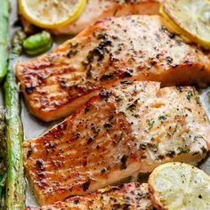 One Pan Lemon Garlic Baked Salmon + Asparagus for a last minute Easter or Good Friday meal idea!