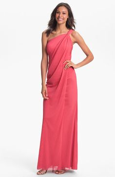 Love the way the back wraps...Adrianna Papell One Shoulder Draped Chiffon Gown | Nordstrom