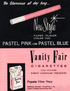 Vanity Fair Pastel Pink Cigarettes ad c. 1950s
