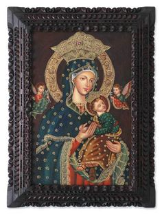 Religious Colonial Replica Painting from Peru - Virgin Mary and Jesus | NOVICA