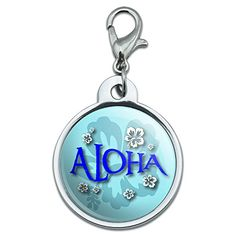 Chrome Plated Metal Small Pet ID Dog Cat Tag Beach Tropical  Aloha Hawaiian Greeting Hibiscus Flowers >>> Check out this great product.(This is an Amazon affiliate link and I receive a commission for the sales)