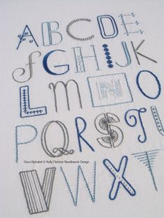 Deco Alphabet modern hand embroidery pattern - modern embroidery PDF pattern, digital download - sampler