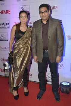 Dr. Ajeenkya DY Patil President (of Ajeenkya D Y Patil University) with his wife at the Red Carpet of 'Ajeenkya DY Patil University Filmfare Awards (Marathi) 2014'