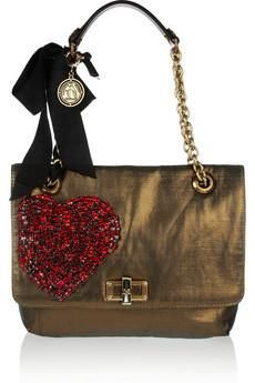Lanvin The Happy medium metallic woven canvas shoulder bag