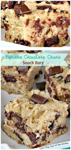 Banana Chocolate Chunk Snack Bars   Can't Stay Out of the Kitchen   delicious #shortbread bars with #bananas #chocolate chunks & #Greekyogurt. #dessert #cookie