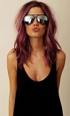 Pink short wavy hair